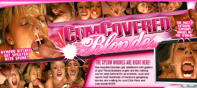 Popular bukkake porn site for facial videos featuring sexy blondes